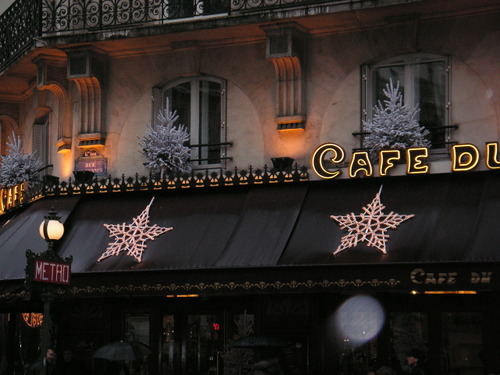 Christmas decorations on a cafe in Paris
