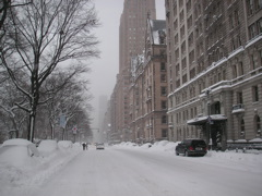 Central Park West under the snow